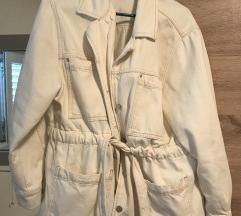 Mango bijela/krem traper jakna s pojasom