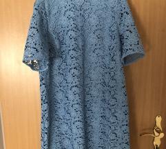 Zara plava čipkasta haljina vel. L