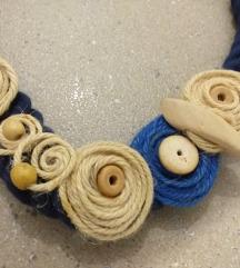 Unikat ogrlica rucni rad plavo krem