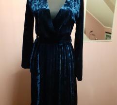 plava pliš haljina