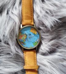 Žuti sat sa motivom svijeta