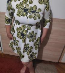 bijelo zuta cvijetna haljina 42-44