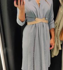 Zara plava haljina s remenom S /NOVO