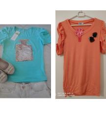 Majice kratkih rukava s etiketom,nove S/M