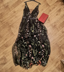 Cvjetna crna duga haljina
