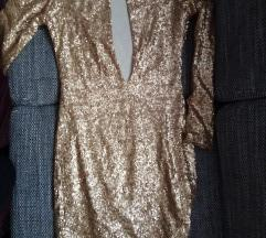 Glitter zlatna, šampanj haljina, s