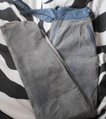 C&A plave vintage kožne hlače (prava koža)
