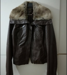 STRADIVARIUS kožna jakna sa krznom