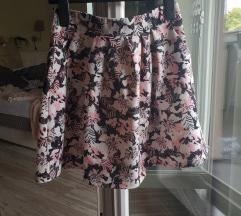 Fishbone print roza suknja