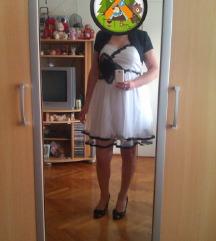 Bijela haljina s crnim cvijetom *SNIŽENO*
