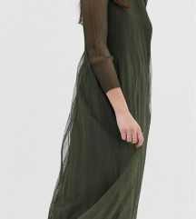 Y.A.S pleated tulle sheer maxi dress