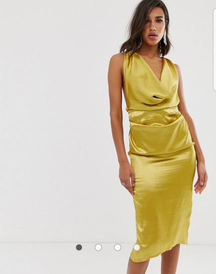 Asos zlatna haljina golih leđa