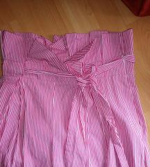 Zara hlače s prugama rozo bijele