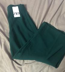 Zara smaragdno zelene culotte hlače XS