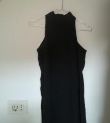 Duga dolcevita haljina crna prorez