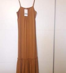 Zara, maxi haljina na volane, nenošena, M-XL