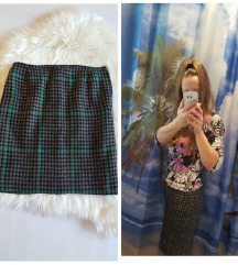 Topla vunena pencil karirana suknja