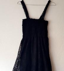 Ženska koktel crna čipkasta haljina na naramenice