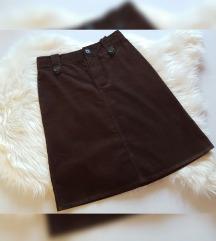 H&M smeđa suknja, kao nova