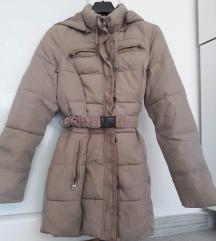 Krem dugacka jakna sa pojasom