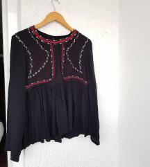 BRAVESOUL crna izvezena bluza dugih rukava