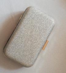 Siva šljokava torbica
