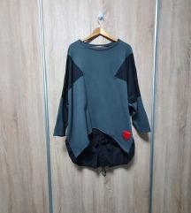 Siva asimetrična pamučna tunika s vezicama