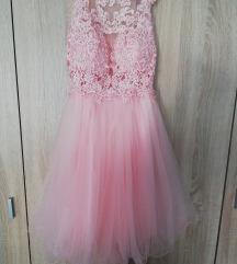 Roza haljina od tila i čipke