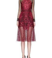 Nova self-portrait lace sheer bordo haljina