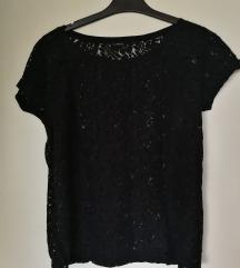 Lindex crna čipkasta majica