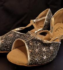 Crno-srebrne plesne cipele/sandale
