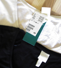 H&M 2x set basic majice dugih rukava vel. M/L (38)