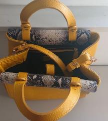 Amelie žuta kožna torba sa dekorativnim rubom