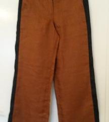 Lanene hlače boje konjaka s crtom