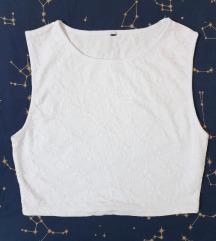 Bijeli cvjetni crop top