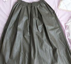 Maslinasto zelena kožna suknja