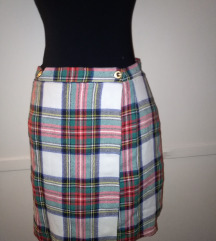 Karirana suknja na preklop S