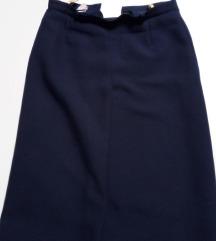 Tamnoplava midi suknja sa faldom - broj S - M