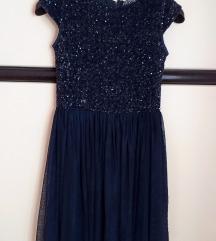 REVIEW sljokasta modra haljina