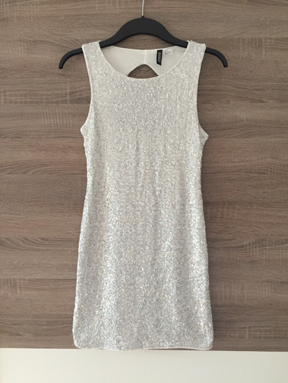 % H&M sequin srebrna haljina