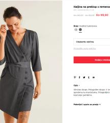 Nova, zapakirana MANGO siva haljina - M vel