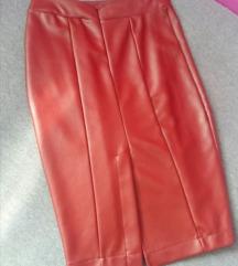 Bordo kožna suknja
