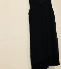Crna haljina s pliš detaljem