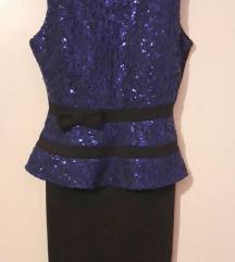 Prelijepa crna haljina s plavim detaljima