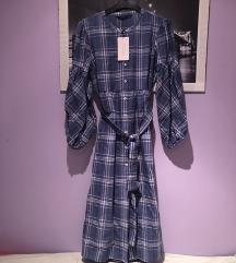 Zara haljina plava karirana L 40