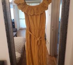 Zara žuta haljina spuštenih ramena