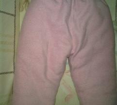 Debele termo roza flis hlače za bebe 68/74