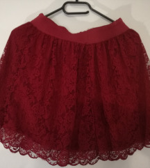 roza čipkasta suknja