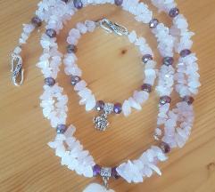 Komplet ogrlica +narukvica/ rozenkvarc