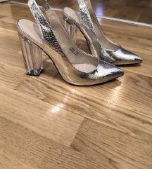 Srebrne sandale s prozirnom petom